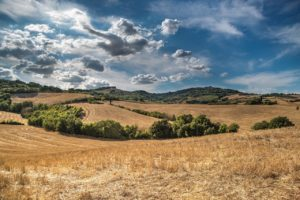 hills, blue sky, clouds